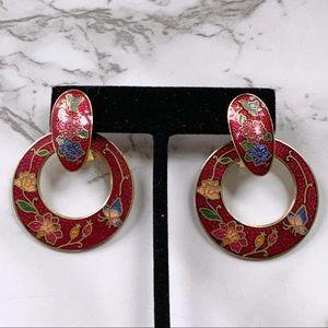 🎉5/20 SALE🎉 VTG cloisonné door knocker earrings